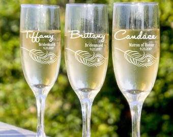 wedding bridal toast champagne toast 9 bridesmaids champagne flute will you be my bridesmaid personalized bridesmaid glass etched glass