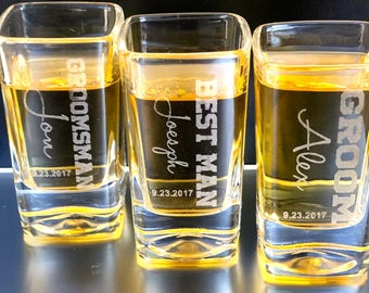 Shot Glasses,  Shot Glass, Bachelor Party, Father of The Bride Best Man Gift, Rehearsal Dinner, Groomsmen Shot Glass, Bridesmaid, Etched