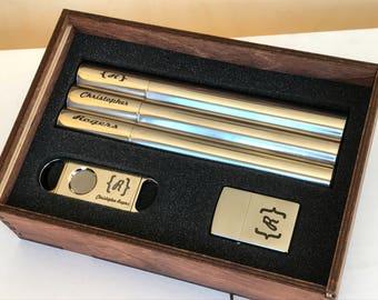 Man Gift, Boyfriend Gift, Husband Gift, Cigar Cutter, Zippo Lighter Engraved Lighter, Gift Set, Smokers Gift, Gift for Him, Suncoast laser