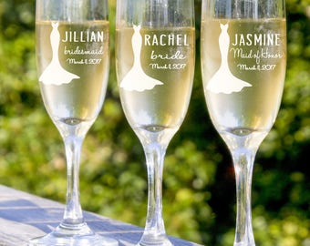 bachelorette party be my bridesmaid champagne flute bridesmaid gift rehearsal dinner maid of honor bridal shower wedding toast
