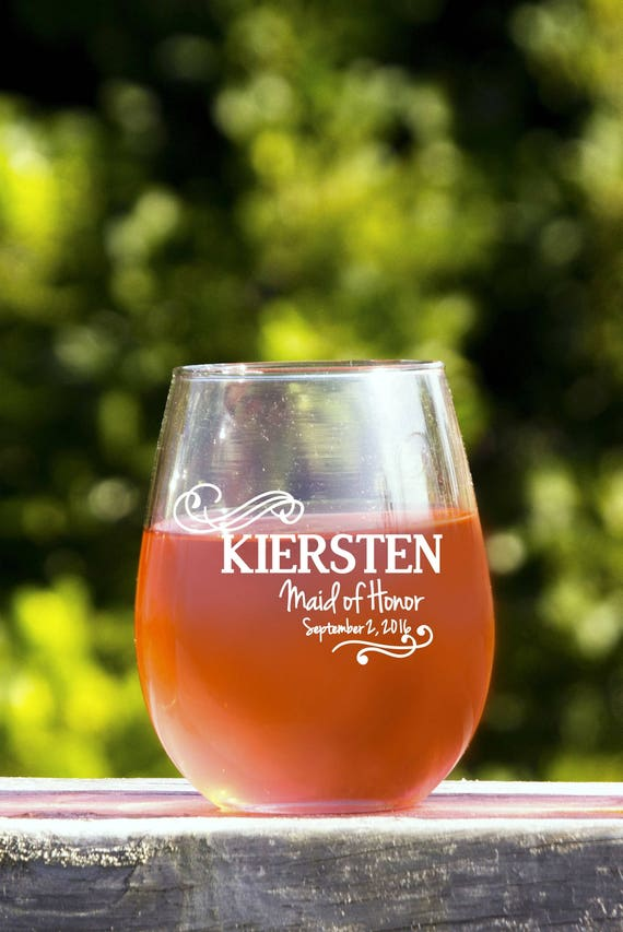 bachelorette party favor personalize wine glasses bridesmaid etsy