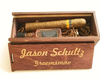 Engraved Wood Box, Stained Gift Box, Wooden Box, Groomsman Wedding Favors, Gift Box for Groomsmen, Groomsman Proposal, Cigar Box