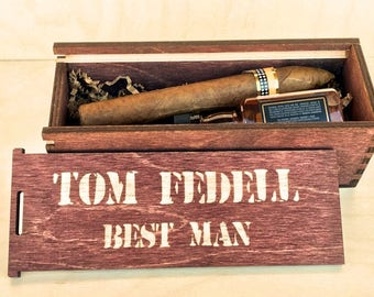 Five Personalized Cigar Boxes - Cigar Gift Box - Groomsmen Gift Box - Cigar Box - Groomsman Gift Box - Jack  - Best Man Gift -
