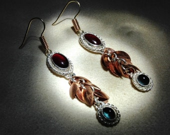 Garnet and Tourmaline cabochons in Silver, Yellow gold earring wires & Rose gold wire beads, Copper leaves ~ Renaissance, Rustic, Classic