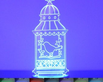 Bird Cage with Single Bird Colour Changing LED Acrylic Light