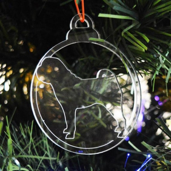 French Bulldog Face Dog Bauble Clear Acrylic Christmas Decorations 6pk