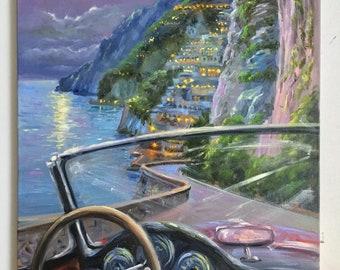 Large oil painting Positano painting beach wall art Amalfi coast painting original landscape painting on canvas painting impressionist art