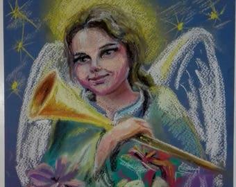 Original pastel painting Angel Christmas angel decor for kids room Angel painting Christmas decoration Spiritual art painting Christian gift