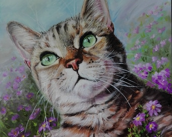 Custom pet portrait custom cat portrait custom oil painting cat lover gift for women gift girlfriend gift for pet lover gift Cat painting