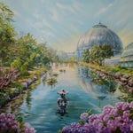 Custom painting Landscape oil painting Commission oil painting Detroit skyline painting Custom oil painting Botanical garden painting flower