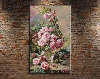Pink Roses art print wall art flower Print Pink Rose painting print canvas fine art print of painting roses flowers wall art for bedroom