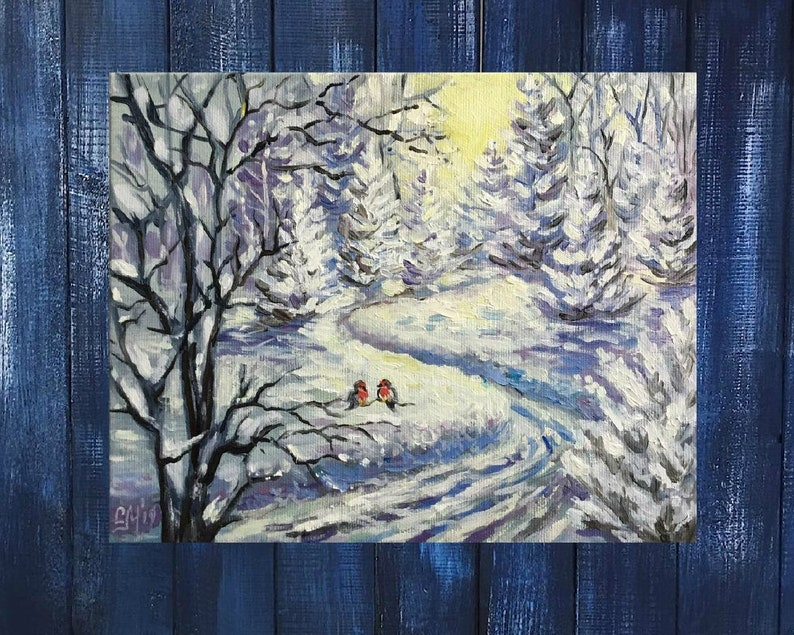Original oil painting snow painting Winter forest Winter image 0