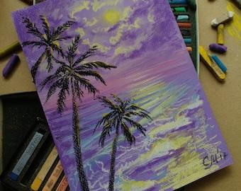 Palm Trees painting Purple pastel sketch Original Pastel landscape painting Ocean Beach painting Tahitian fantasy painting Purple wall decor