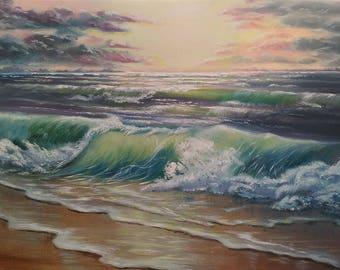 Ocean painting commission Nautical decor Commissioned oil painting custom Ocean art beach painting Sea waves painting canvas art Commission