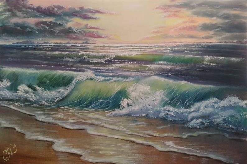 Beach Ocean painting commission Nautical decor Commission oil image 0