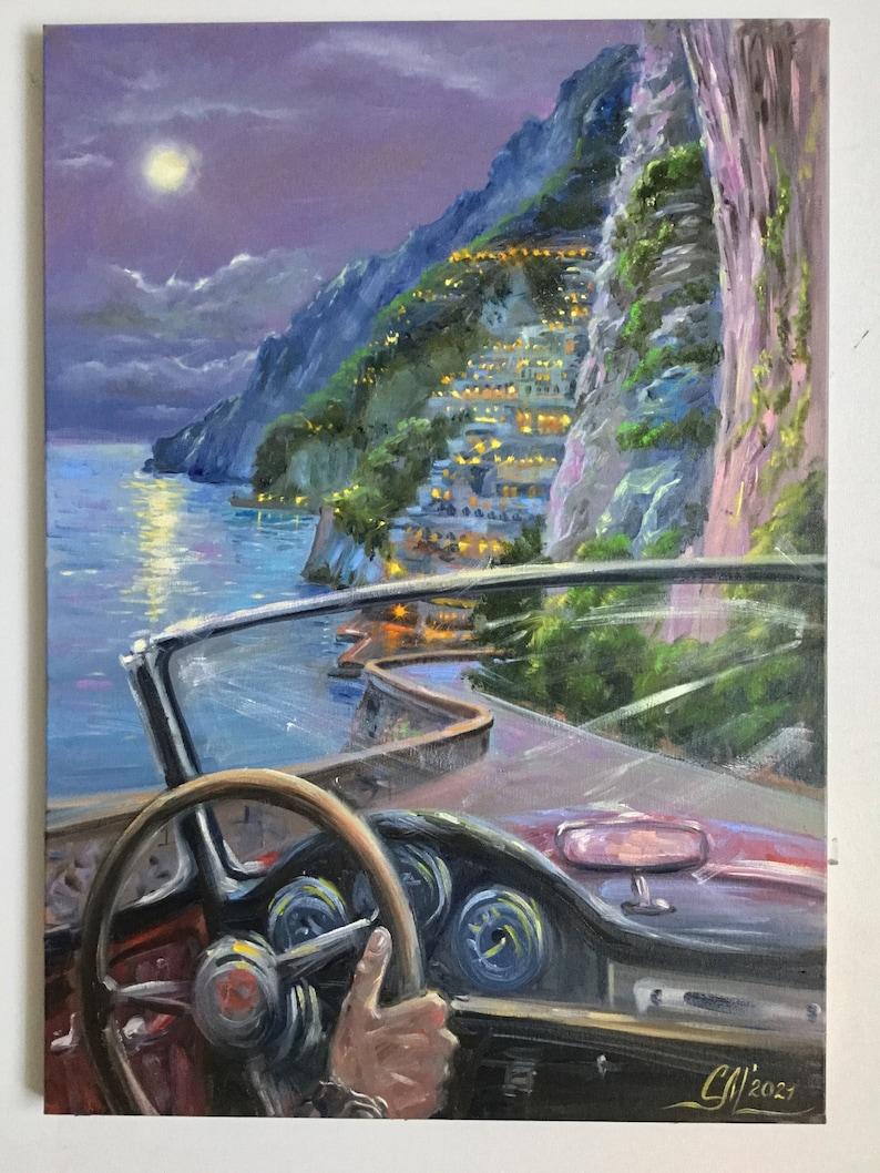 Large oil painting Positano painting beach wall art Amalfi image 0