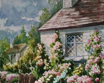 Rustic decor for home Original watercolor painting House portrait gift for women Farmhouse decor Landscape painting English Village cottage