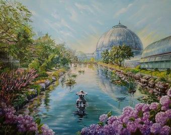 Commission painting Landscape art Commission oil painting Detroit skyline paintings Custom oil painting original garden painting flower