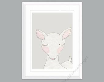Framed Nursery Art Nursery Prints Woodland Animal Prints for Nursery Deer Pictures Animal Art Grey White Unisex Gender Neutral Nursery Decor