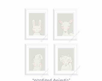 Woodland Animals Nursery Prints Set of 4 Nursery Prints Fox Art Deer Picture Bunny Rabbit Prints Squirrel Neutral Colors New Baby Gift Grey