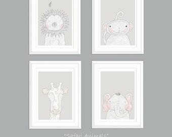 Set of 4, Nursery Decor, Nursery Wall Art, Modern Nursery Prints, Safari Nursery Decor, Safari Nursery Prints, Animal Prints for Nursery Art
