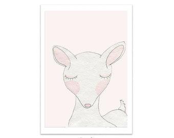 Cute Pink Nursery Prints Deer Print Pink Nursery Decor Framed Prints Woodland Animal Prints Woodland Animals Nursery Art for Girls Room Deer