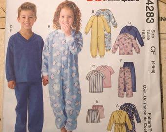 3f86b54236 UNCUT Boys Girls Pajama Sewing Pattern Mccalls 4283 M4283 Size 4 5 6 PJs  Kids Drawstring Pants Shorts Robe Jumpsuit Long Sleeve Raglan Knit