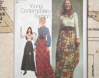 Simplicity 9616 Vintage Sewing Pattern 1970s Size 12 1971 Skirt Blouse Knit Top Contemporary Fashion 1970 70s Retro Boho Pointed Collar