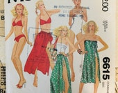 VINTAGE 70s Women 39 s Sewing Pattern Size 8 10 12 Misses Swimsuit and Skirt or Coverup Swim Suit Bathing Bikini One Piece Strapless Halter