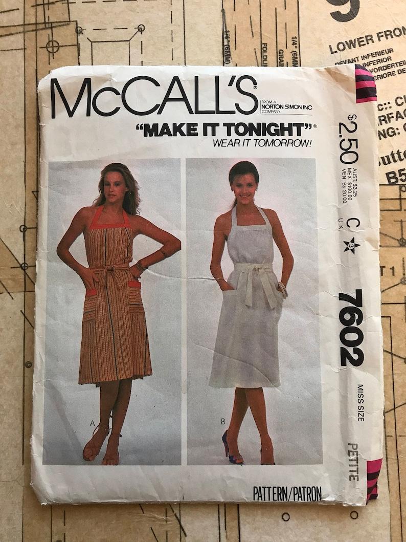 UNCUT 80s Wrap Dress Mccalls 7602 M7602 Size Petite 6-8 Back  71243cc33