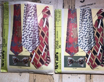 Vintage 1970s Men's Tie Bowtie Sewing Pattern Mccalls 2568 M2568 4IN 5IN 3.5IN Bow Tie Professional Handmade Neckties  Classic Wide Suit Tie