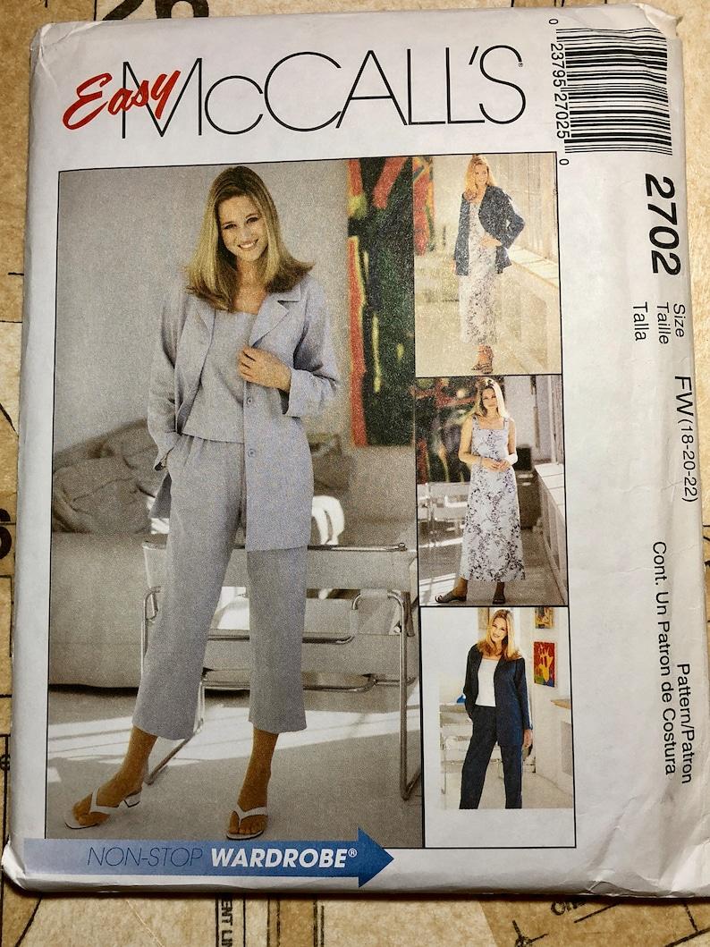 803532f4bbb UNCUT Women s Sewing Pattern Size 18 20 22 Mccalls 2702