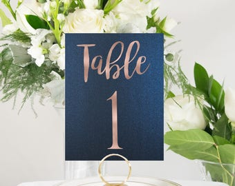 Rose Gold Table Numbers, Navy Table Number, Wedding Table Number, Rustic Table Number, Foil Table Numbers, #0102NB 4x6