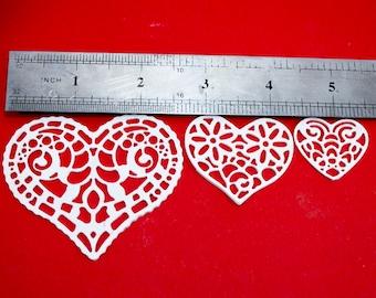 Flexible appliques heart decor heart decoration decoupage decor scrapbooking embellishments paintable openwork