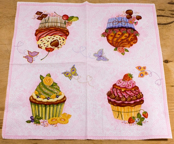 4 Lunch Paper Napkins for Decoupage Craft Vintage Napkin Dessert
