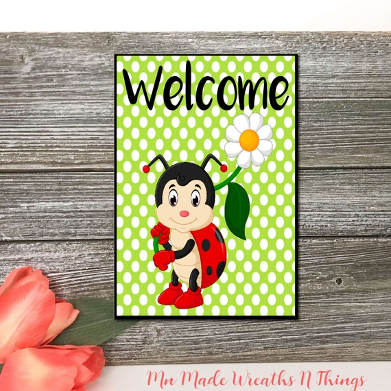 Ladybug Metal Accent Sign, Wreath Supplies, Summer Decorating Sign