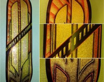 Kustom painted gold flake and kandy skateboard wall art
