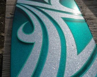 Kustom Kandy teal and blue painted long board skateboard
