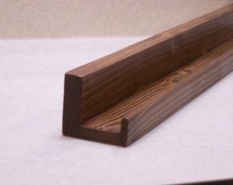"Ultra Narrow Floating ledge Shelf, Picture ledge, You Choose length. 12"", 14"", 16"", or 18 Inch. Dark Walnut Finish"