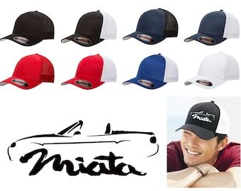 907554b09298b 1999-04 Mazda Miata Sports Car Classic Outline Design Trucker Hat Cap