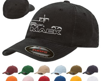 7a7cae46ebd0e Mack Superliner Semi Truck Classic Outline Design Hat Cap