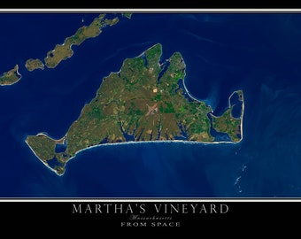 Marthas Vineyard Massachusetts Satellite Poster Map