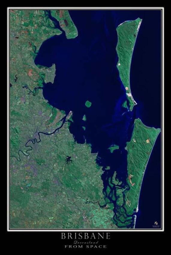 Brisbane Queensland Australia Satellite Poster Map on remote sensing map of australia, a map of australia, map map of australia, hotel of australia, cool map of australia, live satellite map australia, show map of australia, aerial view of australia, south australia, satellite maps of homes, men of australia, western australia, the map of australia, data map of australia, ground of australia, china map of australia, google australia, topographical map of australia, current map of australia,