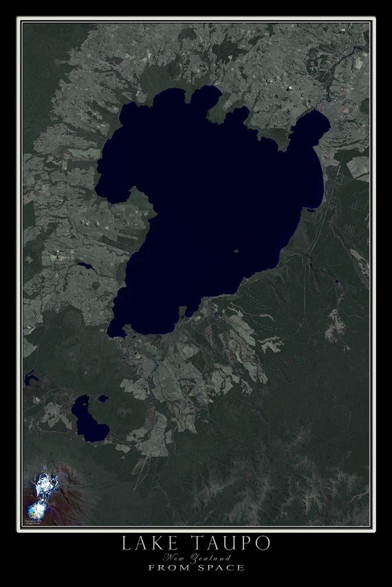 Lake Taupo New Zealand Satellite Poster Map on aerial view world map, continents and oceans flat map, space map, security map, phone map, mobile map, sat map, sky map, networking map,