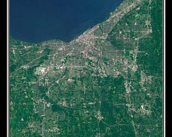 Cleveland Ohio Satellite Poster Map