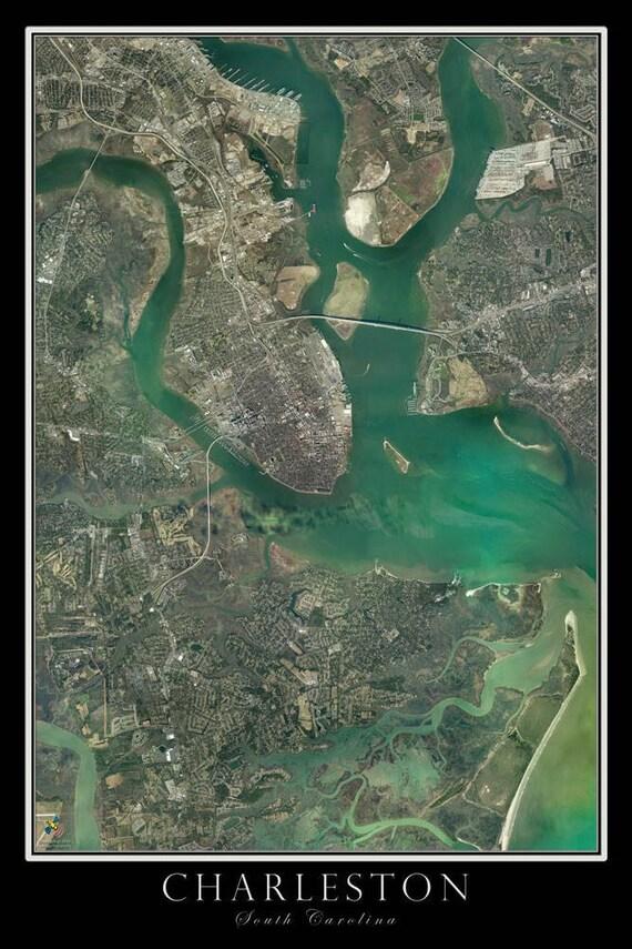 Carte de Charleston en Caroline du Sud Satellite affiche   Etsy