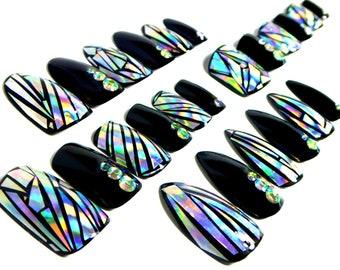 Holographic Jewelry Nails / Fake nails, glue on nails, press on nails, nail art, gift women, holo, drag, at home beauty, diy nails, make up