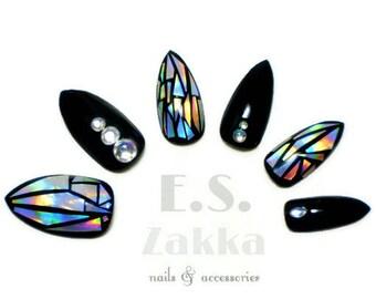 Holographic Jewelry Nails / Fake nails, glue on nails, press on nails, nail art, gift women, stiletto nails, festival, rainbow, mermaid, fun