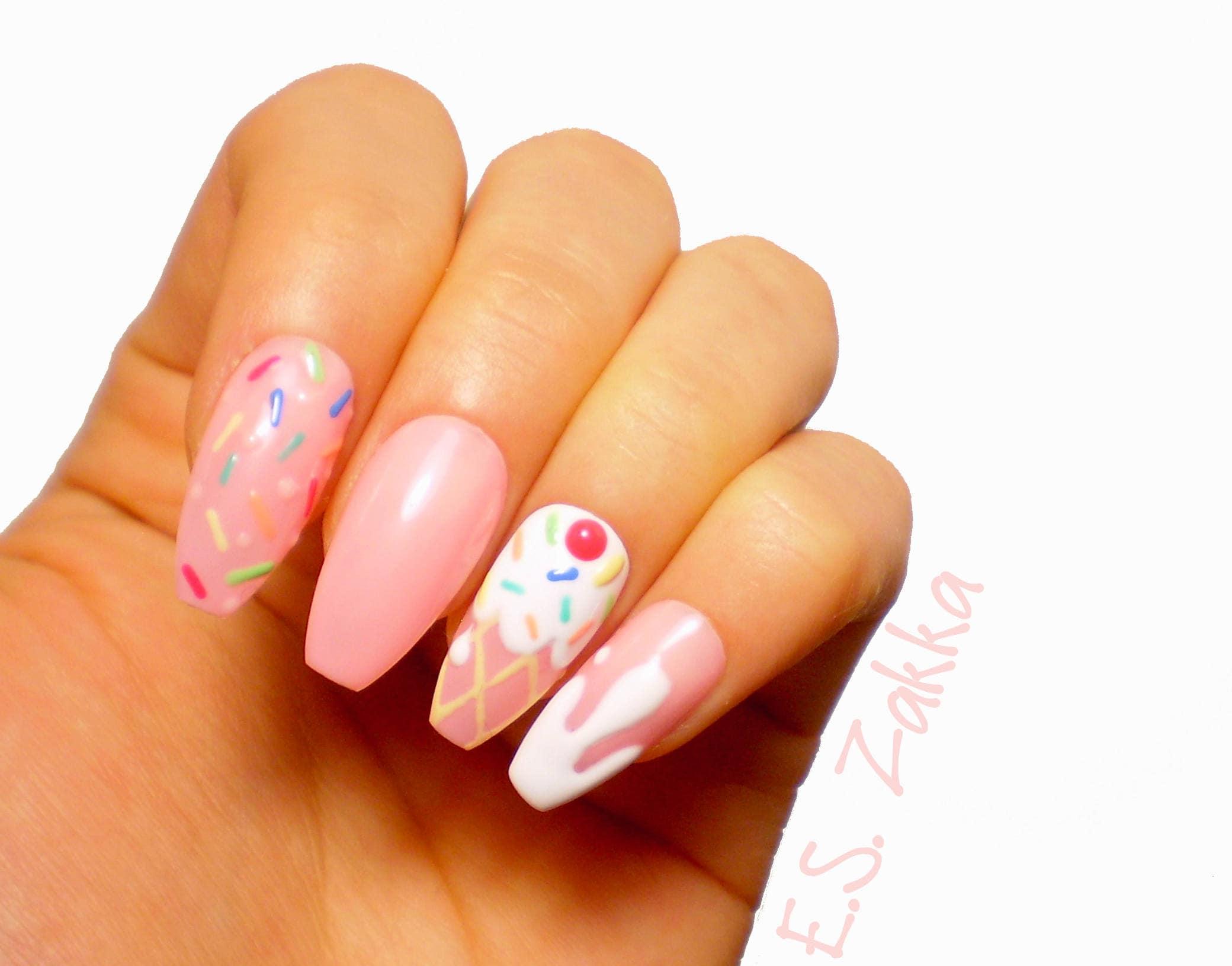 Ice Cream Gel Nails / Fake nails, glue on nails, press on nails ...