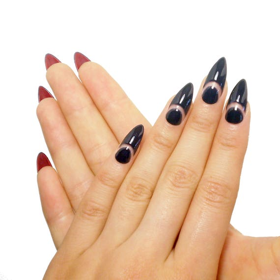 Black French Louboutin Nails Fake nails press on nails